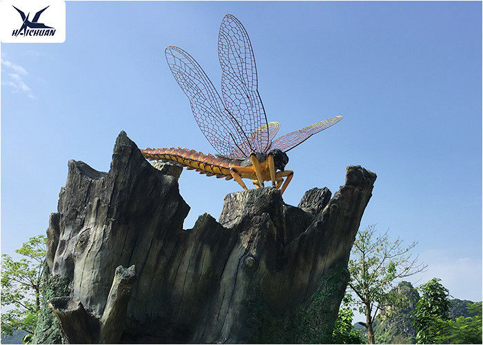 Outdoor Realistic Lifesize Animatronic Animals Insect Dragonfly Park Decoration Model