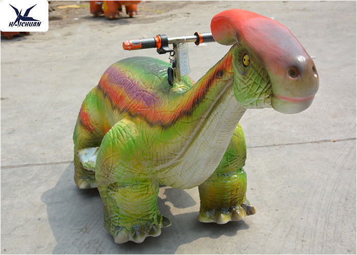 Kiddie Rides Simulation Motorized Cartoon Dinosaur Scooters in the Playground